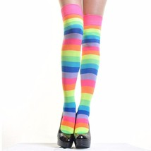 Angelina 12 Pair Dozen Women's Knee High Socks Neon Rainbow Striped 6753A