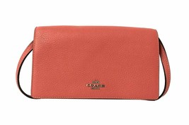 Coach Womens Pink F30256 Leather Foldover Crossbody Clutch Wallet 8649-4 - $114.05