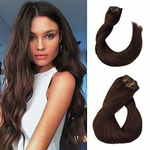 16 Inch Brown Hair Clip in Extension Full Head Silky Straight Remy Clips on Exte