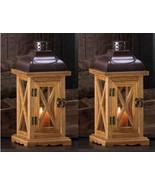 2 HAYLOFT Small Wooden Candle Lanterns - $40.62
