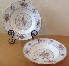 Royal Albert Petit Point Set Of 2 Rimmed Soup Cereal Bowls Needlepoint E... - $70.08