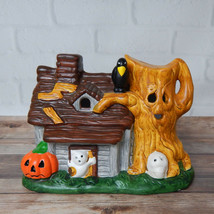 "Vintage Halloween House Spooky Tree Figurine Ceramic Seasonal Decor 6"" - $24.99"