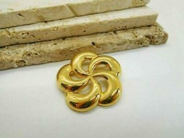 Vintage Signed Monet Polished Gold Tone Open Swirl Brooch Pin MM1 - $15.99