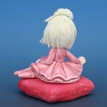 Vintage Japanese Mophead Girl Figurine on Velvel Flocked Pink Pillow image 3