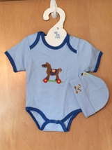 Baby Boy's Rocking Horse Onesie & Hat Set 0-6 Months - $15.00