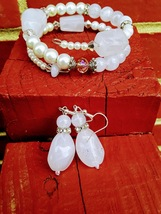 Frosted Pink Bracelet and Earring Set Before and After Handmade Jewelry  - $18.00