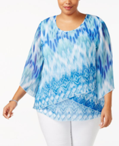 JM Collection Plus Size Printed Tiered Top in Eye Blaze; 0X - $25.73