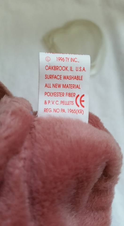 TY Beanie Babies Batty PVC PELLETS , With Errors Retired 1996 No Pink Stamp image 5