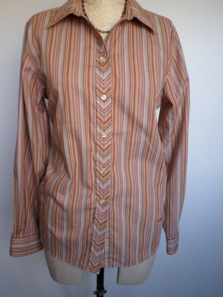 ORVIS Shirt 10 Womens Striped Cotton Blend Carefree Button Front Orange blouse