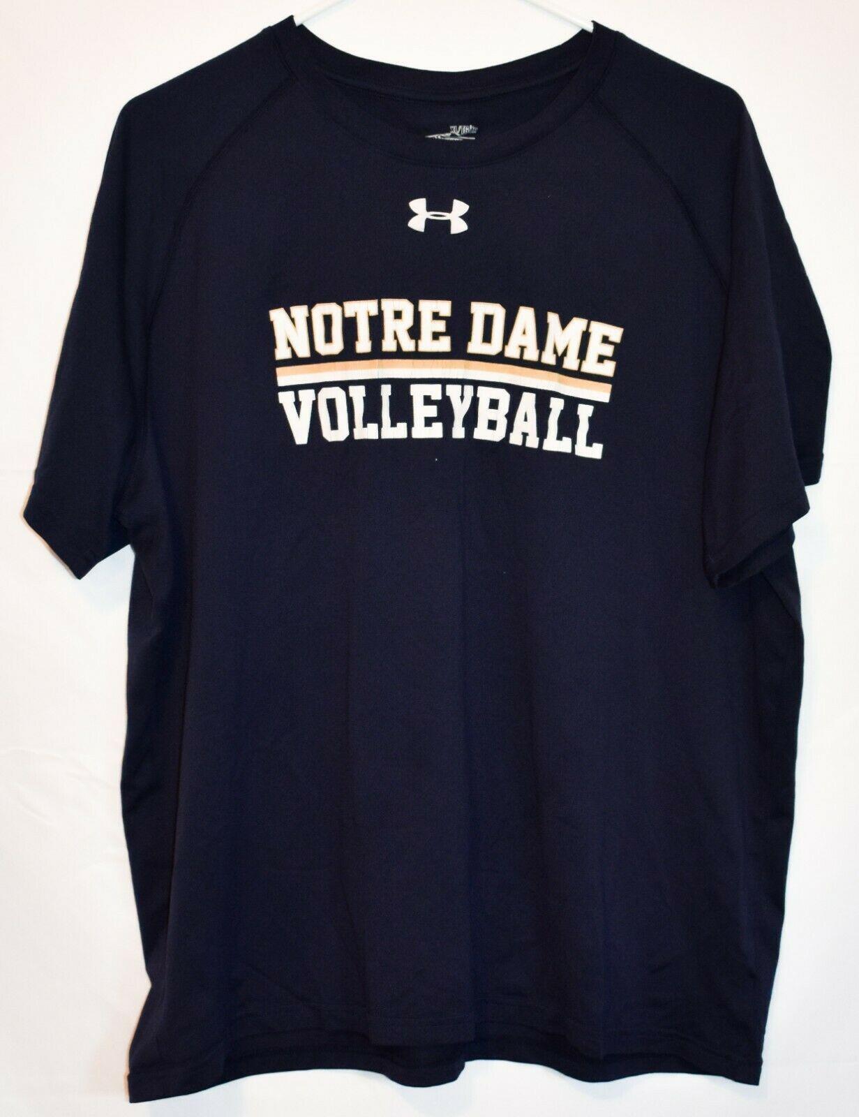 Under Armour Men's Loose HeatGear Notre Dame Volleyball Navy Blue Shirt Size XL