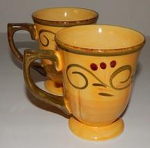 2 Home Trends Italian Villa Mugs Cups Yellow Green Scalloped Edge 6578968 - $25.73