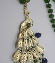 GREEN JADE, KYANITE 925 STERLING SILVER LONG NECKLACE AND BIG PEACOCK PENDANT image 9