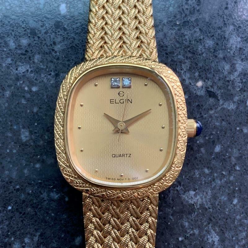 Primary image for Ladies Elgin 21mm Gold-Plated Diamond Dress Watch, c.1980s Swiss Elegance LV252