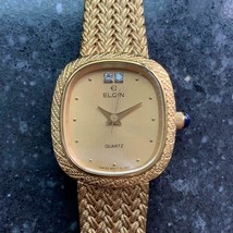 Ladies Elgin 21mm Gold-Plated Diamond Dress Watch, c.1980s Swiss Elegance LV252 - $587.14