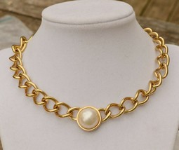 Vintage 80s power femme goldtone chain choker necklace w large faux pear... - $19.79
