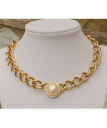 Vintage 80s power femme goldtone chain choker necklace w large faux pear... - $19.79