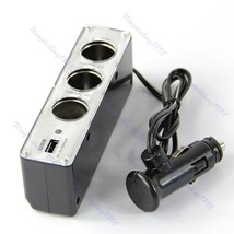 3 Way Car Cigarette Lighter Socket Splitter DC 12V Charger Adapter with USB - $12.82