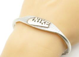 925 Silver & 14K GOLD - Vintage Floral Detail Pointed Cuff Bracelet - B6217 - $144.08