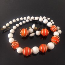 VINTAGE W. GERMAN ORANGE & WHITE GLASS BEAD NEC... - $14.20