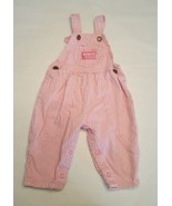 Baby Girls OSHKOSH B' GOSH Pink White Railroad Stripe OVERALLS 6 to 9 MOS - $23.36
