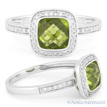 1.79ct Checkerboard Peridot Round Cut Diamond Halo Setting Ring 14k Whit... - £405.91 GBP