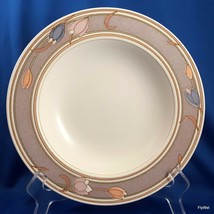"Mikasa Intaglio Meadow Sun Rimmed Soup Bowl CAC02 Taupe Pastel Tulips 9-1/4"" - $11.88"