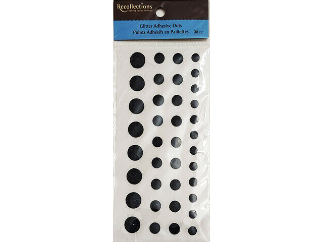 Recollections Black Glitter Adhesive Dots, 3 Sizes #161643