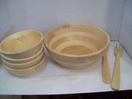 Wood Salad Bowl Set With Bamboo Servers Best For Serving Salad Pasta J1 - €17,09 EUR