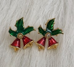 Avon Vintage Enamel Red Bells Green Holly Rhinestones Pierced Holiday Ea... - $7.70