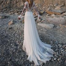 V Neck Long Sleeves Lace Appliques A Line Bridal Gowns Plus Size image 2