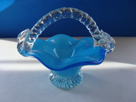 Handcrafted Blue to clear mini glass basket. - $25.00