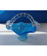 Handcrafted Blue to clear mini glass basket. - $15.00