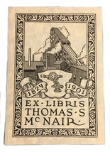 Ex Libris Exlibris Bookplate 1824 1901 Mill Thomas McNair Crow - $49.49