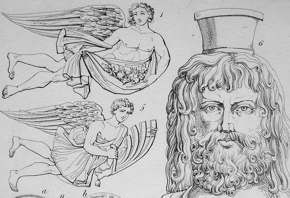 MYTHOLOGY Gods of Hell Pluto Zephyr Persephone Jupiter - 1825 Antique Print