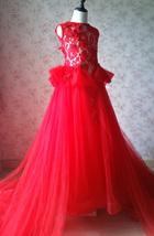 Pageant Red Lace Tutu High Waist Flower Girl Dress 2-Way Girl Birthday Dress NWT image 4