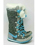 Nike Size 8.5 Black Blue Hi3 Premium Tall Lace-Up Furry Snow Boots 33361... - $28.49