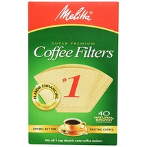 Melitta 620122 40 Count #1 Natural Brown Cone Coffee Filters (Pack Of 5) - $22.99