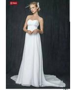 Davids Bridal Sweetheart Chiffon Wedding Dress with Side Drape Size 16 - $346.50