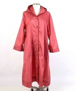 Vintage 1980s Rose Waterproof Trench Coat Retro Rain Jacket Ms Puddles W... - $34.64