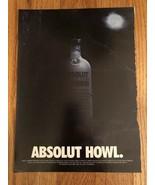 Absolut Howl Halloween Original Magazine Ad - $4.99
