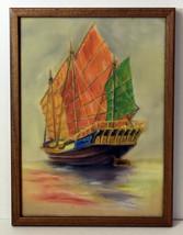 """10"""" Amazing Vintage Pastel Drawing Sailship Seascape Schooner Wall Art D... - $47.49"""
