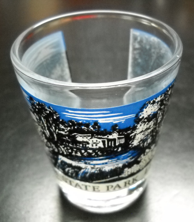 Letchworth State Park Shot Glass Blue and Black Overhead View Wrap Clear Glass