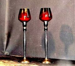 Red Cut Glass Candlestick Holders AB 312 Vintage image 5