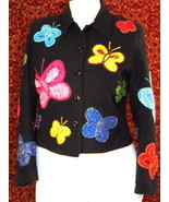 ANAGE Navy short waist jacket w/butterflies S (TC1-04I8G) - $29.68