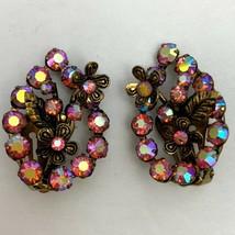 Vintage Pink AB Rhinestone Clip On Earrings Brass Tone Flower Floral Pea... - $19.75