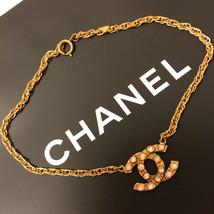 Auth Chanel Halskette Gelbgold Vergoldete Charm Strass cc Logo CN0191 - $701.23