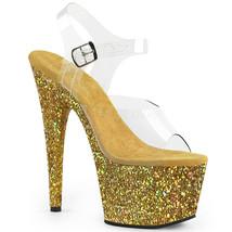 "PLEASER Sexy 7"" Heel Gold Glitter Platform Clear Ankle Strap Stripper Shoes - $54.95"