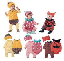 6-36M Cute Halloween Baby Boy Girl 3-PC Costume Romper, Vest and Hat, 3 ... - $18.99