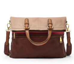 FOSSIL® Multi Function, All Leather Flap-over Tote w/ Strap- Red Multi - $214.20