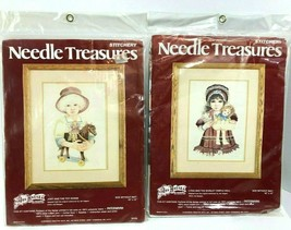 2 Needle Treasures Stitchery Kits Hagara  #00557, 00558 Vintage New 10 x 14 - $39.59
